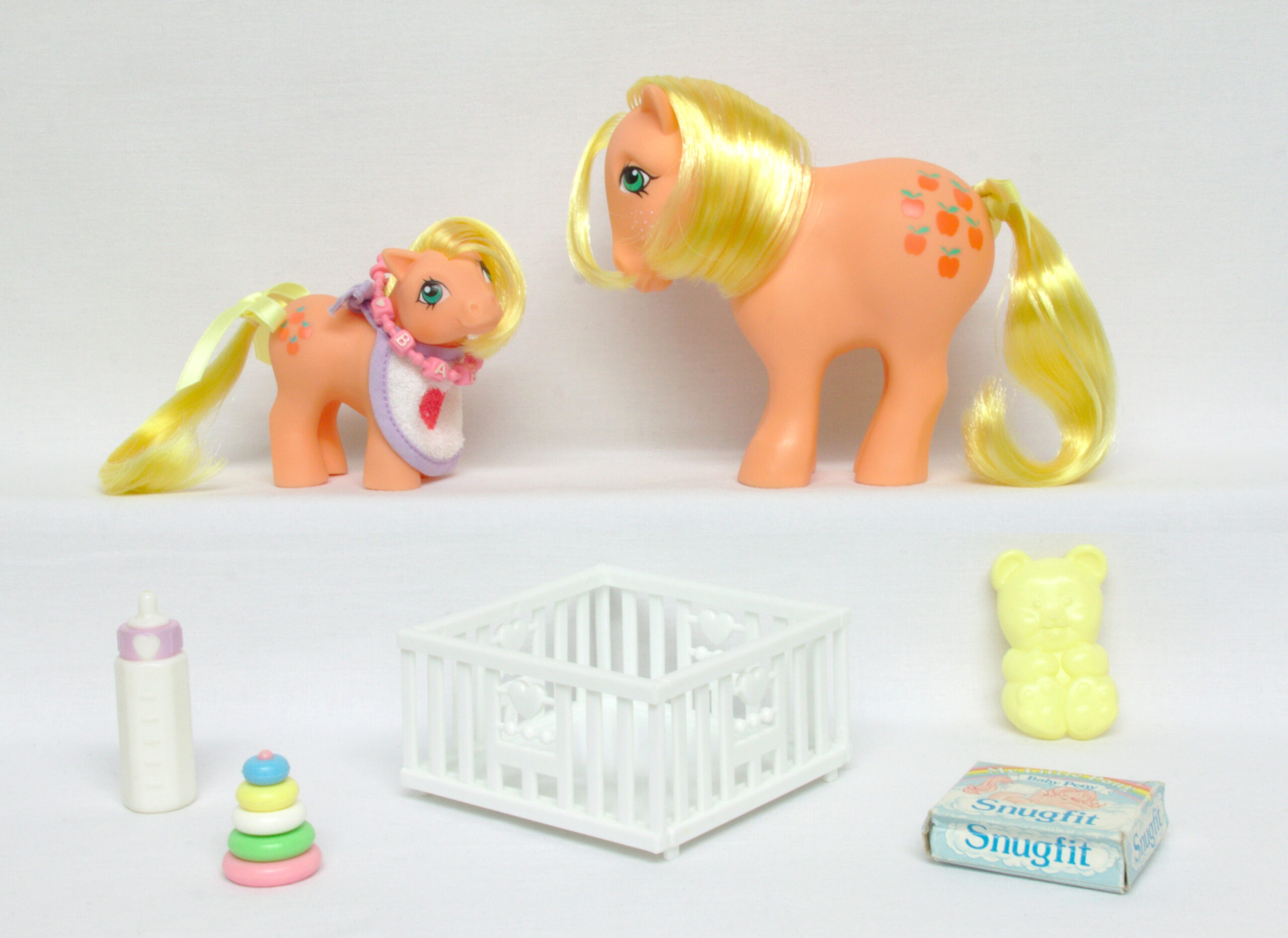 MLP G1 Pony Mummy and Baby Applejack Ponies With Accessories