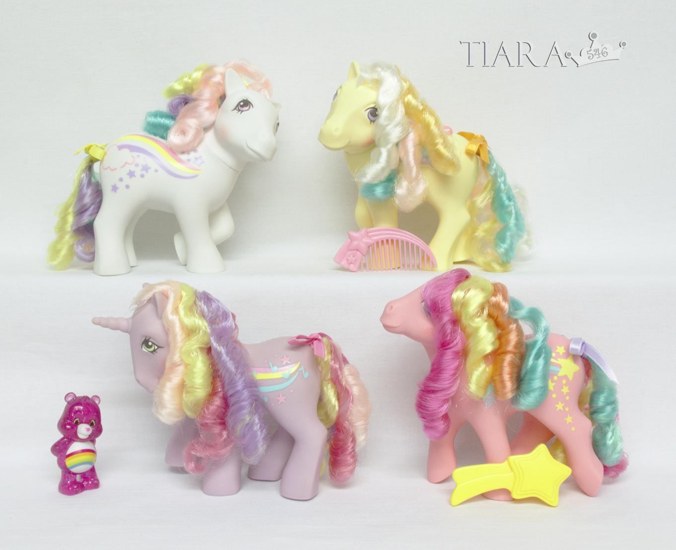 MLP G1 Pony Rainbow Curl Ponies Complete Set With Care Bear